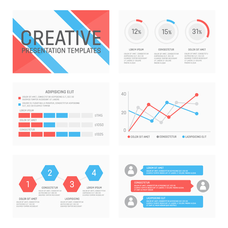 charts and graphs: Vector template for presentation slides with graphs and charts