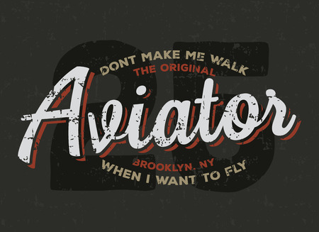 airline pilot: illustration concept in vintage graphic style for t-shirt design