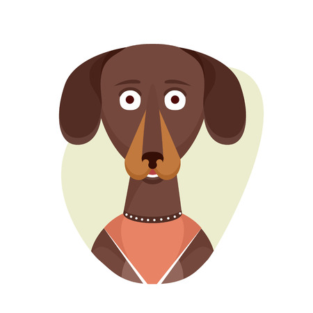 dachshund: Isolated objects on white background in flat cartoon style. Vector illustration.