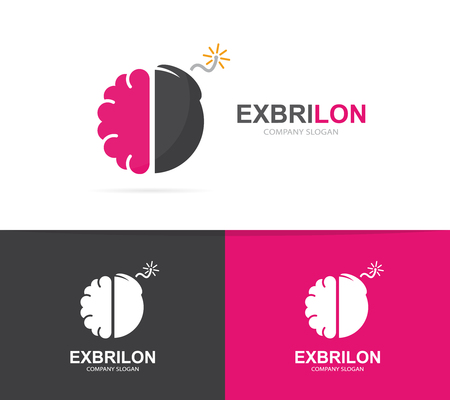 creative brain: Vector logo combination of a brain and bomb. Brainstorm and science logo. Mind and bomb symbol or icon. Unique psychology and innovation logo design template. Creative brain bomb logo.