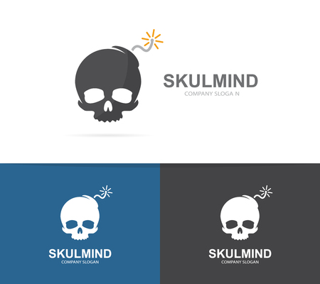 Vector Logo Combination Of A Skull And Bomb Explosion And Dead
