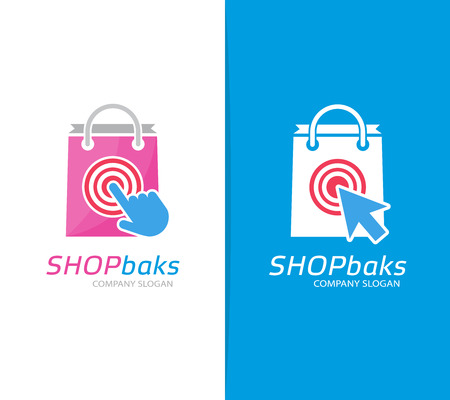 Vector package and click logo combination. Shop and cursor symbol or icon. Unique buy and sale logotype design template.