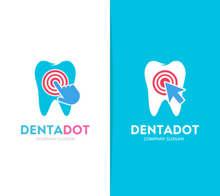 dent: Vector tooth and click logo combination. Dental clinic and cursor symbol or icon. Unique dent and medical logotype design template. Illustration