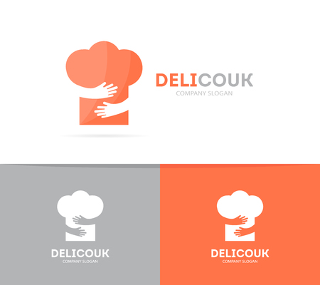 Vector chef hat and hands logo combination. Menu and embrace symbol or icon. Unique restaurant and bakery logotype design template.