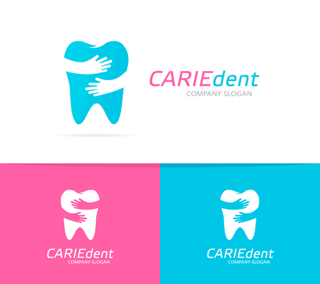 dent: Vector tooth and hands logo combination. Dental clinic and embrace symbol or icon. Unique dent and medical logotype design template.