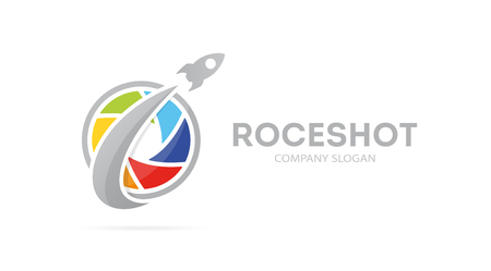 optical people person planet: Vector of rocket and camera shutter logo combination. Airplane and photography symbol or icon. Unique photo and lens logotype design template.