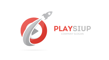 Vector of rocket and play button logo combination. Airplane and record symbol or icon. Unique audio and video logotype design template.