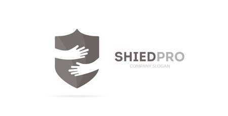 tech support: Vector shield and hands logo combination. Security and embrace symbol or icon. Unique protect and defense logotype design template.