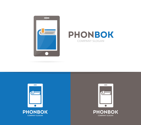 phone logo: Vector book and phone logo combination. Novel and mobile symbol or icon. Unique bookstore and library logotype design template.
