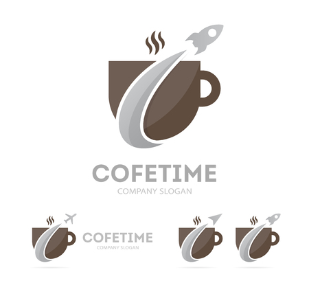 Vector of rocket and coffee logo combination. Airplane and coffeehouse symbol or icon. Unique drink and flight logotype design template. Illustration