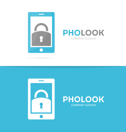 phone logo: Vector lock and phone logo combination. Padlock and mobile symbol or icon. Unique privacy and security logotype design template. Illustration