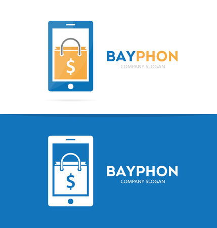 phone logo: Vector package and phone logo combination. Shop and mobile symbol or icon. Unique buy and sale logotype design template.