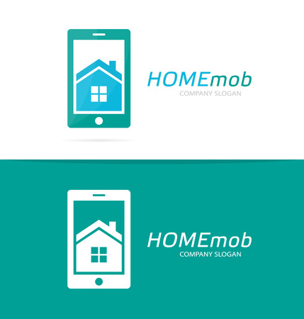 phone logo: Vector house and phone logo combination. Real estate and mobile symbol or icon. Unique apartment and rent agency logotype design template.