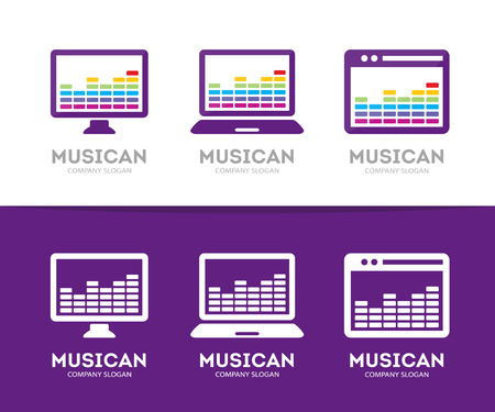 digital music: Vector music and phone logo combination. Equalizer and mobile symbol or icon. Unique radio and sound logotype design template.