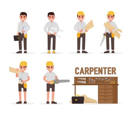 Carpenter, joiner, foreman, engineer and woodworker elements collection with various people actions. Vector illustration in flat style