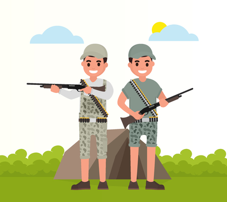 Two happy hunters stand with weapons. Vector huntsman, gamekeeper in flat style