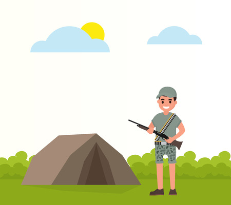 Happy hunter stands near the tent stand with weapons. Vector huntsman, gamekeeper in flat style