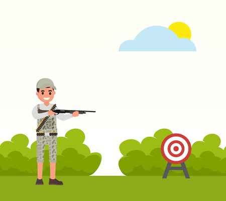 stalker: Happy hunter shoots at the target. Vector huntsman, gamekeeper in flat style shooter shoots at the target