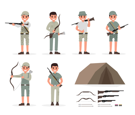 stalker: Hunter, huntsman, gamekeeper, forester and archer elements collection with weapons and various people actions. Vector illustration in flat style