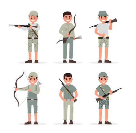 bowman: Hunter, huntsman, gamekeeper, forester and archer elements collection with weapons and various people actions. Vector illustration in flat style