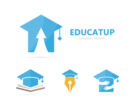 Vector of graduate hat and arrow up logo combination. Study and growth symbol or icon. Unique college and university logotype design template. Illustration