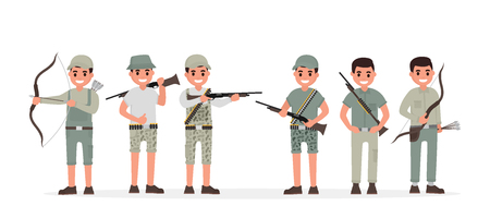 Team of many various hunter, huntsman, gamekeeper, forester and archer. Vector illustration in flat style Illustration