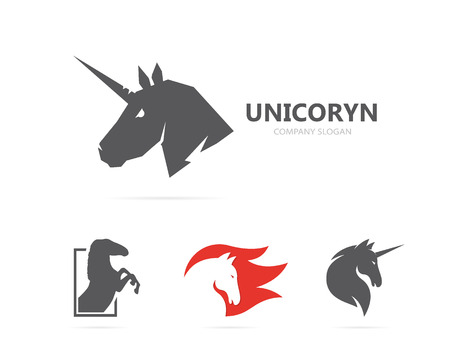 Vector eenhoorn of paard logo sjabloon Stock Illustratie