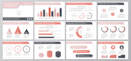 green power: Set of red elements for multipurpose presentation template slides with graphs and charts. Leaflet, corporate report, marketing, advertising, annual report, book cover design.