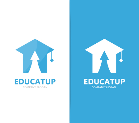 profit celebration: Vector of graduate hat and arrow up logo combination. Study and growth symbol or icon. Unique college and university logotype design template. Illustration