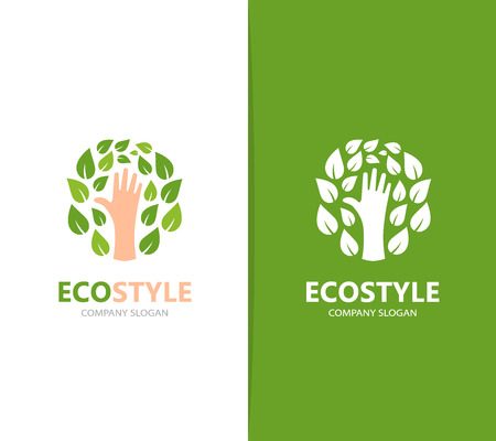 logo vector: Vector of hand and leaf logo combination. Arm and eco symbol or icon. Unique organic and support logotype design template.