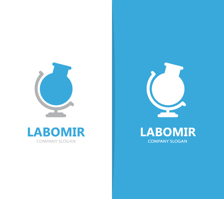 globe logo: Vector of flask and globe logo combination. Laboratory and planet symbol or icon. Unique ball and bottle logotype design template. Illustration