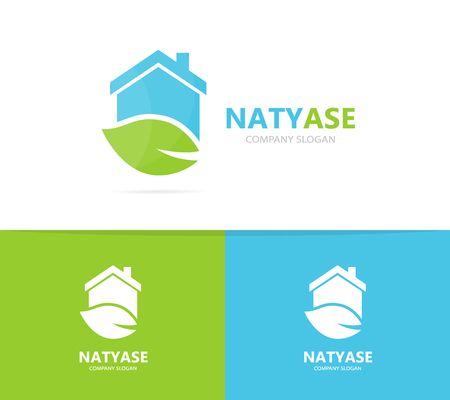 Vector of real estate and leaf logo combination. House and eco symbol or icon. Unique organic and rent logotype design template.