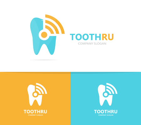 comunicacion oral: Vector of tooth and wifi logo combination. Dental and signal symbol or icon. Unique clinic and radio, internet logotype design template.