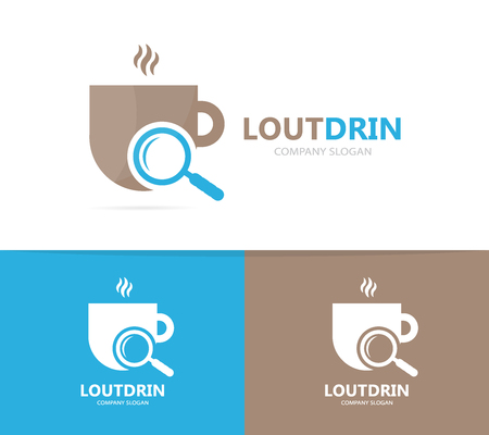 A Vector of coffee and loupe logo combination. Drink and magnifying glass symbol or icon. Unique cup and search logotype design template. Illustration