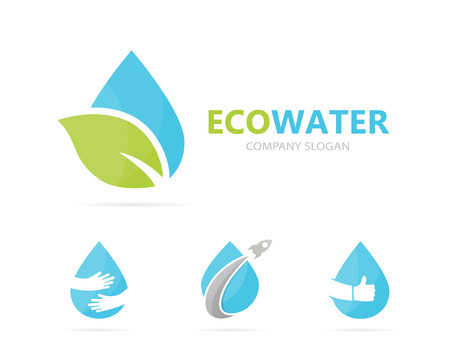 Vector of oil and leaf logo combination. Drop and eco symbol or icon. Unique organic water and aqua logotype design template. Illustration