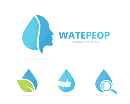 Vector of man and oil logo combination. Face and drop symbol or icon. Unique human and water, aqua logotype design template. Illustration