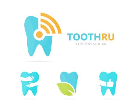comunicacion oral: Vector de combinación de logo diente y Wi-Fi. Dental o señal de símbolo o ícono. Clínica única y radio, plantilla de diseño de logotipo de internet.