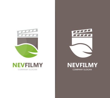 movie film: Vector of clapperboard and leaf logo combination. Cinema and eco symbol or icon. Unique organic and video logotype design template.