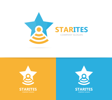 Vector of star and flask logo combination. Unique leader and laboratory logotype design template.