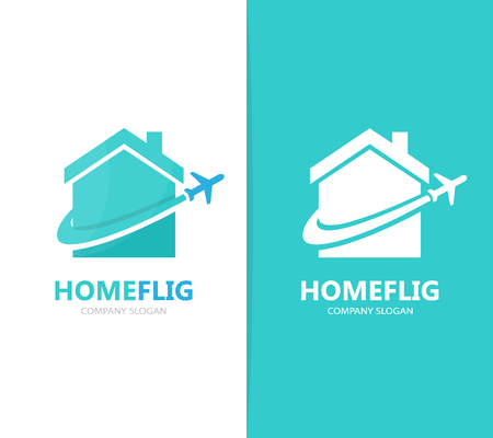 Vector of real estate and plane logo combination. House and travel symbol or icon. Unique rent and flight logotype design template.