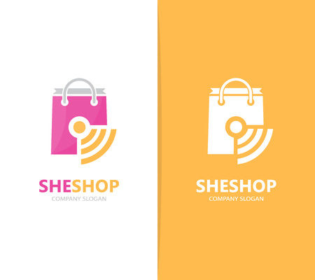 mobile apps: Vector of shop and wifi logo combination. Sale and signal symbol or icon. Unique bag and radio, internet logotype design template.