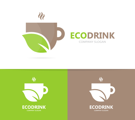 Vector of coffee and leaf logo combination. Drink and eco symbol or icon. Unique organic cup and tea logotype design template.