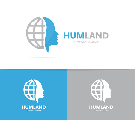 Vector of man and planet logo combination. Face and world symbol or icon. Unique human and globe logotype design template.