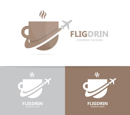 Vector van koffie en vliegtuigembleemcombinatie. Drinken en reizen symbool of pictogram. Unieke beker en vlucht logo ontwerpsjabloon. Stock Illustratie