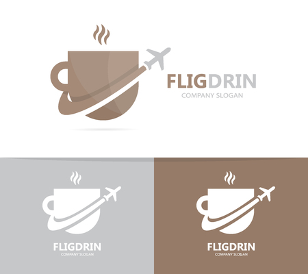 Vector of coffee and airplane logo combination. Drink and travel symbol or icon. Unique cup and flight logotype design template.