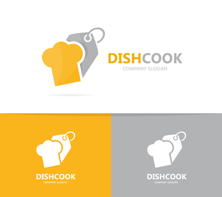 Vector of chef hat and tag logo combination. Kitchen and shop symbol or icon. Unique cook and label logotype design template.