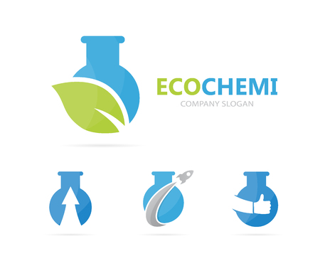medical technology: Vector of flask and leaf logo combination. Laboratory and eco symbol or icon. Unique organic and bottle logotype design template. Illustration