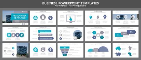 Set van grijze en blauwe elementen voor dia's met presentatiesjablonen voor meerdere doeleinden met grafieken en diagrammen. Folder, bedrijfsrapport, marketing, reclame, jaarverslag, boekomslagontwerp.