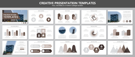 Set of brown elements for multipurpose presentation template slides with graphs and charts. Leaflet, corporate report, marketing, advertising, annual report, book cover design. 向量圖像