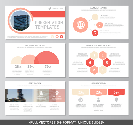 peper: Set of red elements for multipurpose presentation template slides with graphs and charts. Leaflet, corporate report, marketing, advertising, annual report, book cover design.